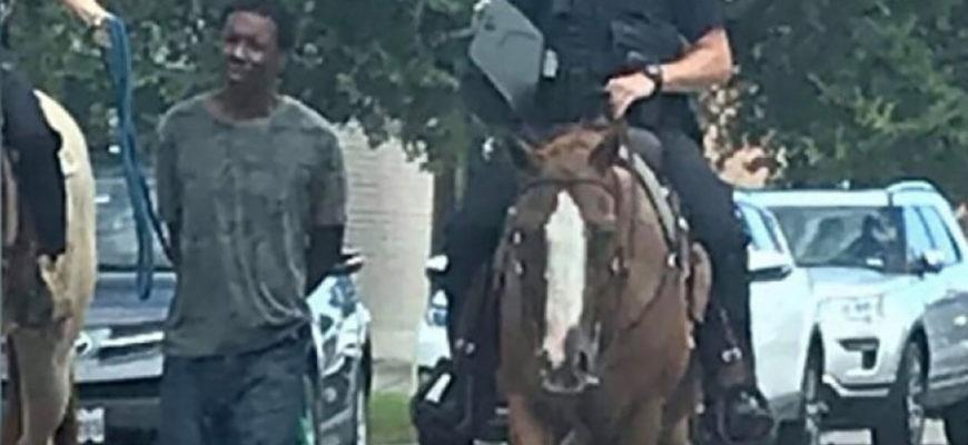 В США полицейские провели по городу чернокожего на веревке, но потом извинились