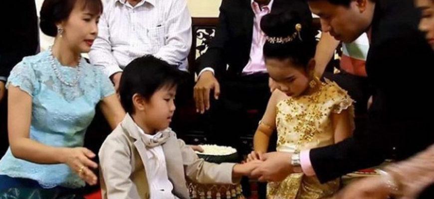 В Таиланде поженили брата и сестру в возрасте шести лет