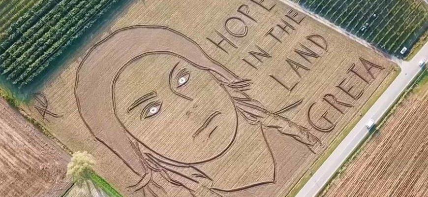 Художник из Италии с помощью трактора нарисовал гигантский портрет в поле