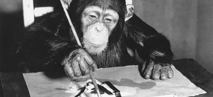 В лондонской галерее пройдет выставка картин, написанных шимпанзе