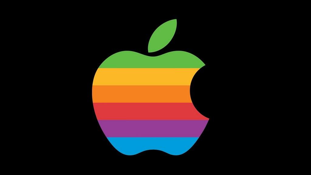 Радужное яблоко - логотип Эппл